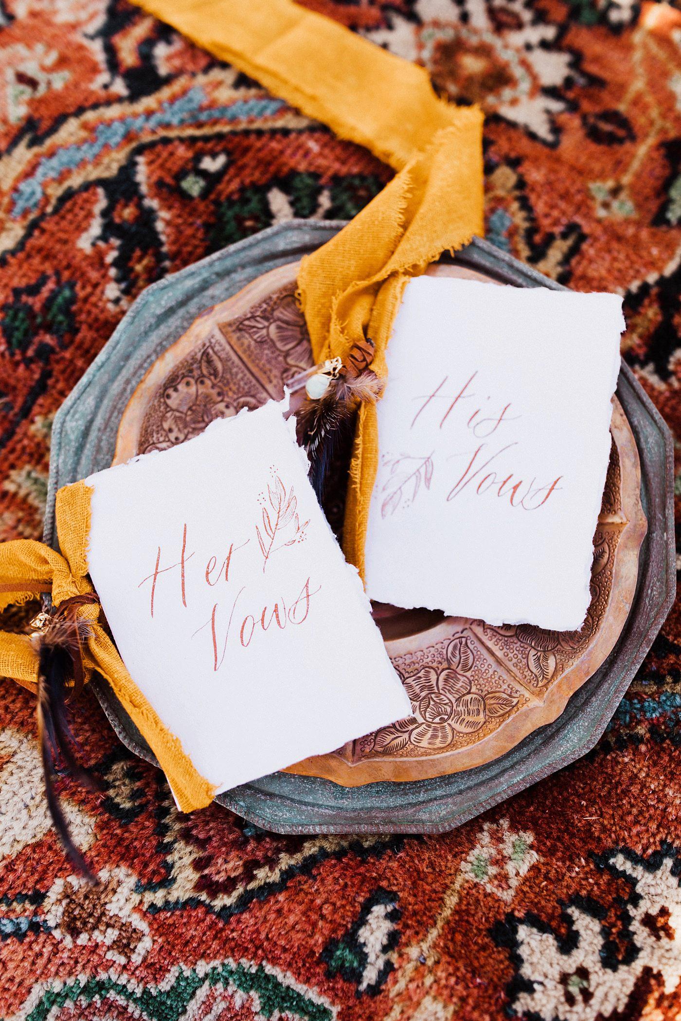Becca Kufrin Garrett Yrigoyen Pre-Wedding Shoot - The Nevada resident and the former publicist's vows were written in beautiful calligraphy by Pretty Written Things and rested on lavish linens designed by La Tavola.