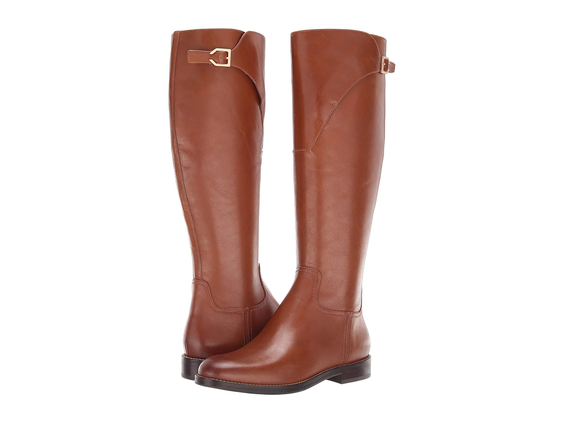 tan cole haan riding boots with a flat heel