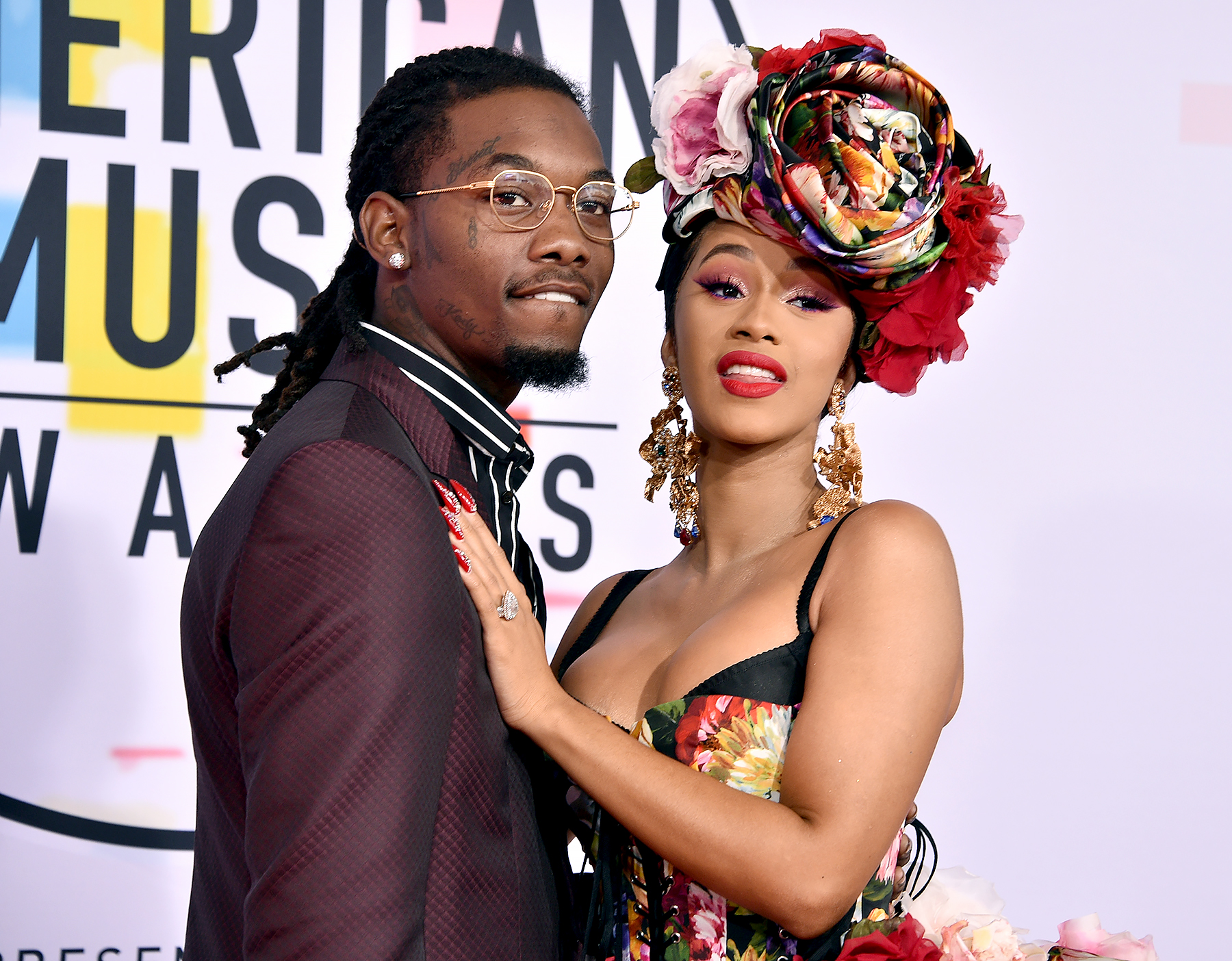 cardi-b-offset-tweet - Offset and Cardi B attend the 2018 American Music Awards at Microsoft Theater on October 9, 2018 in Los Angeles, California.