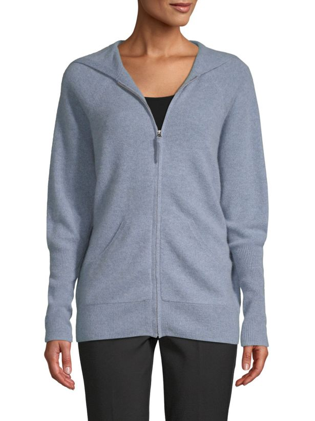 cashmere saks fifth avenue zip front hoodie sweatshirt blue