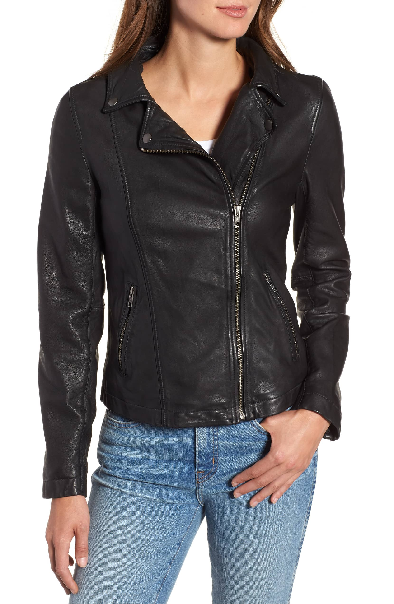 caslon leather jacket with hood inset removed