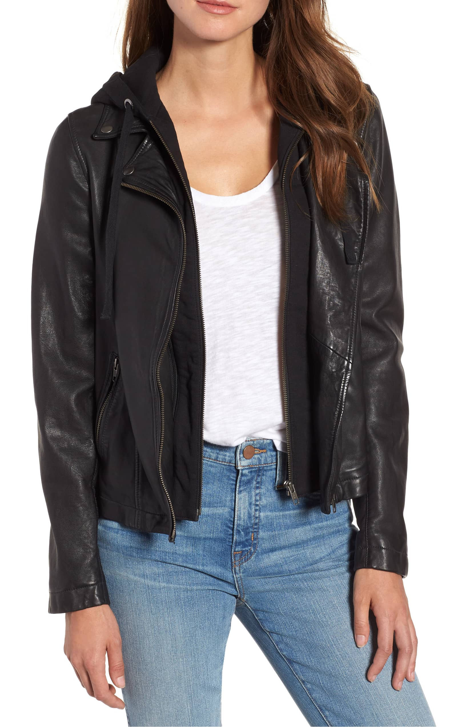 caslon leather jacket with a removable hood