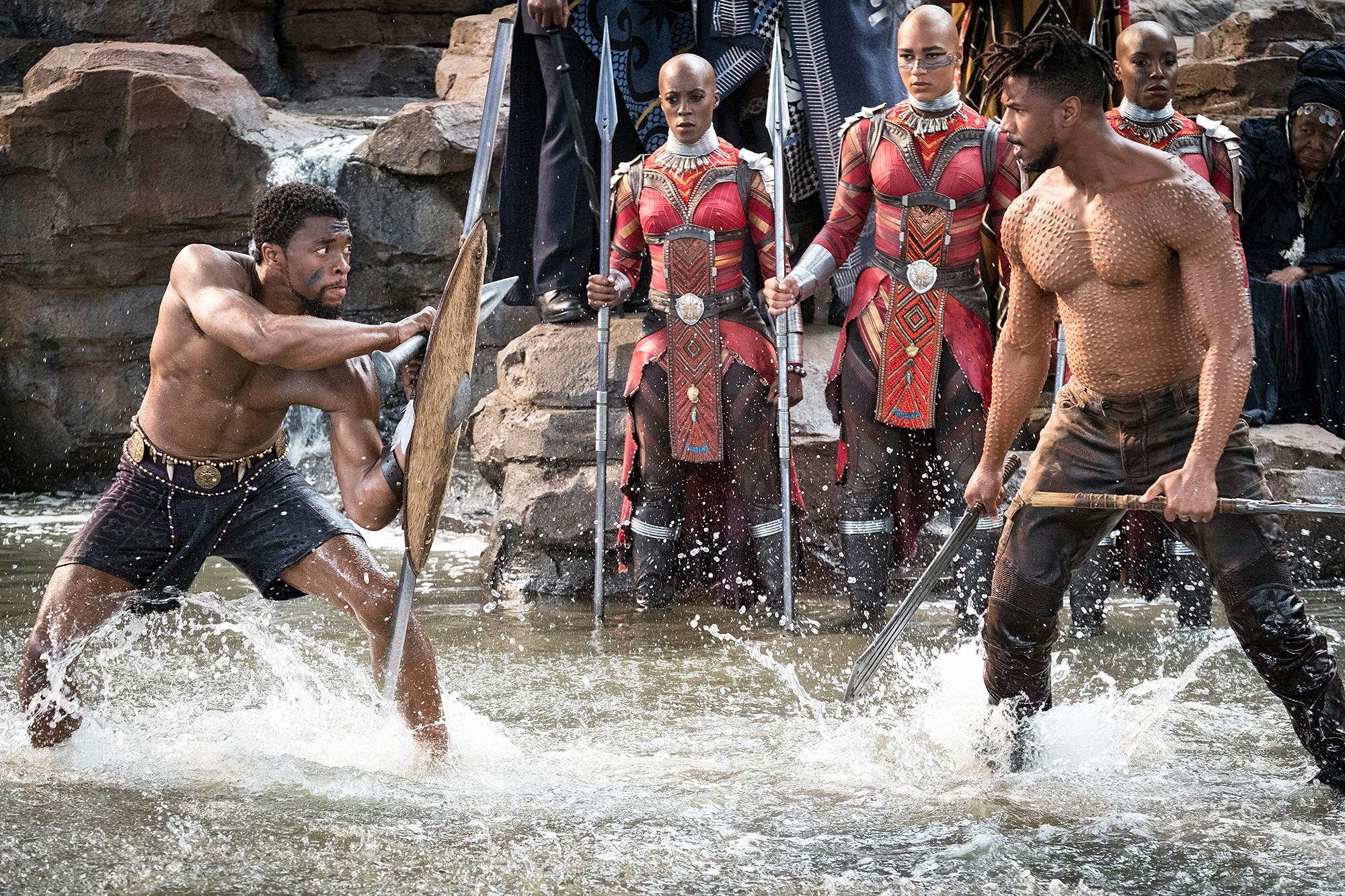 Chadwick Boseman Michael B. Jordan Black Panther Golden Globe Nominations - Chadwick Boseman and Michael B. Jordan in 'Black Panther.
