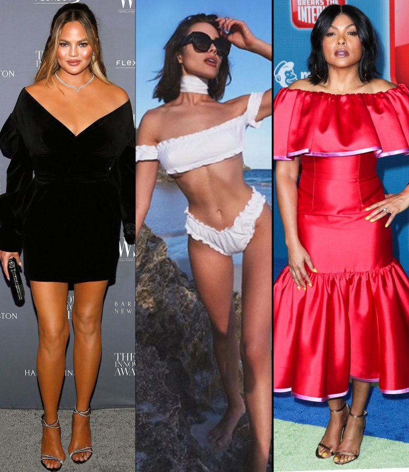 chrissy-teigen-olivia-culpo-taraji-p-hensen-off-the-shoulder-dress-bikini-trends-2018
