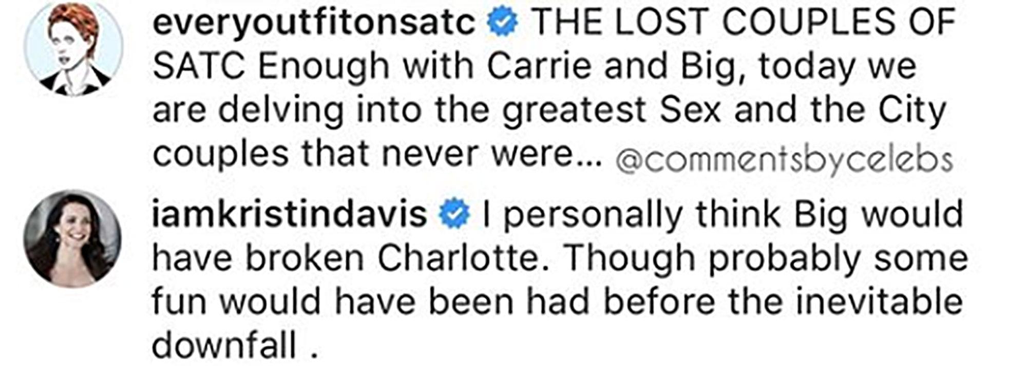 Kristin Davis - Kristin Davis's comment on Instagram