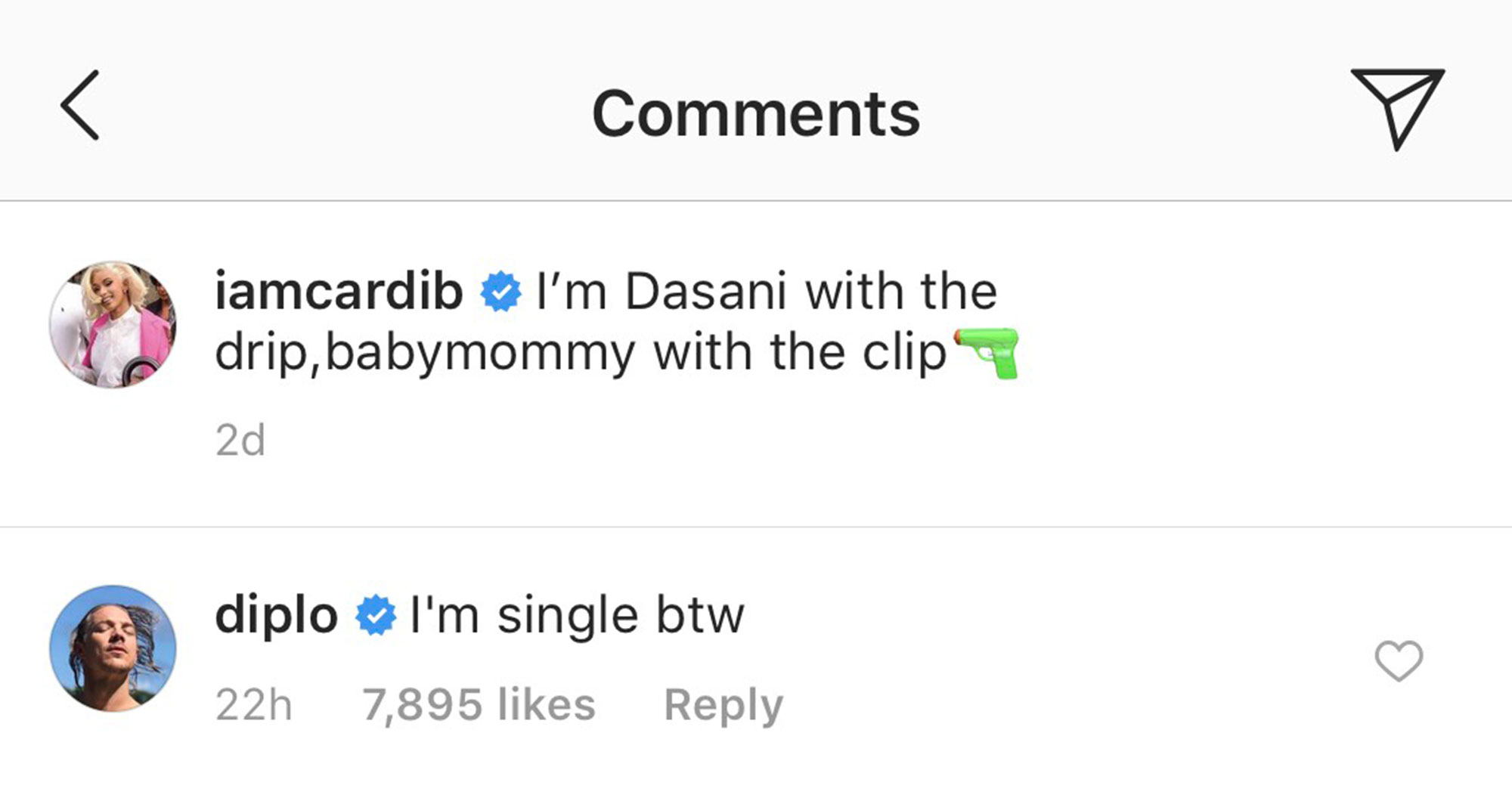Diplo Leaves a Flirty Comment on Cardi B's Instagram After Her Split - Cardi B and Diplo's comments on Instagram