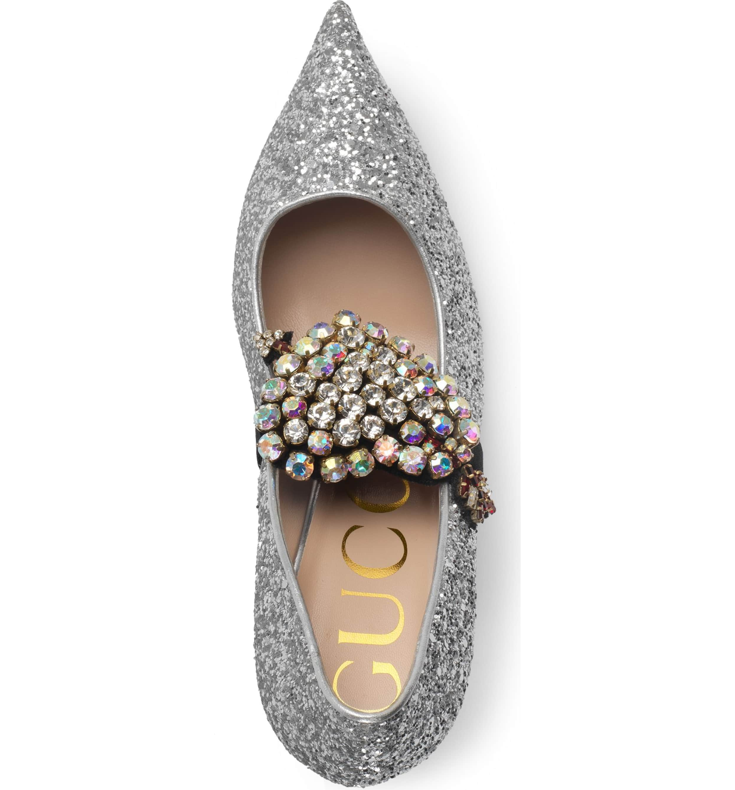dazzling sparkle heart gucci shoe