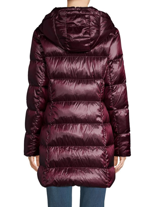 donna karan puffer coat with hood in burgundy color