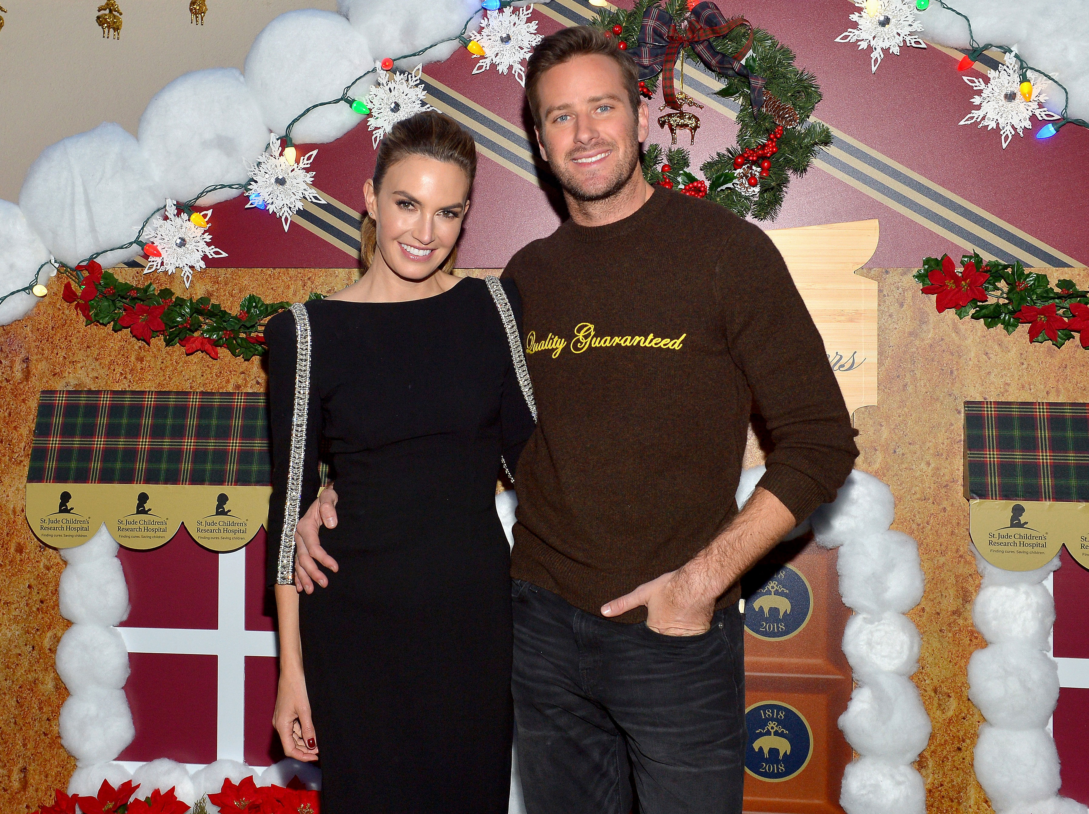 Armie Hammer and Elizabeth Chambers' Holiday Plans - lizabeth Chambers (L) and Armie Hammer attend the Brooks Brothers and St Jude Children's Research Hospital Annual Holiday Celebration at the Beverly Wilshire Four Seasons Hotel on December 9, 2018 in Beverly Hills, California.