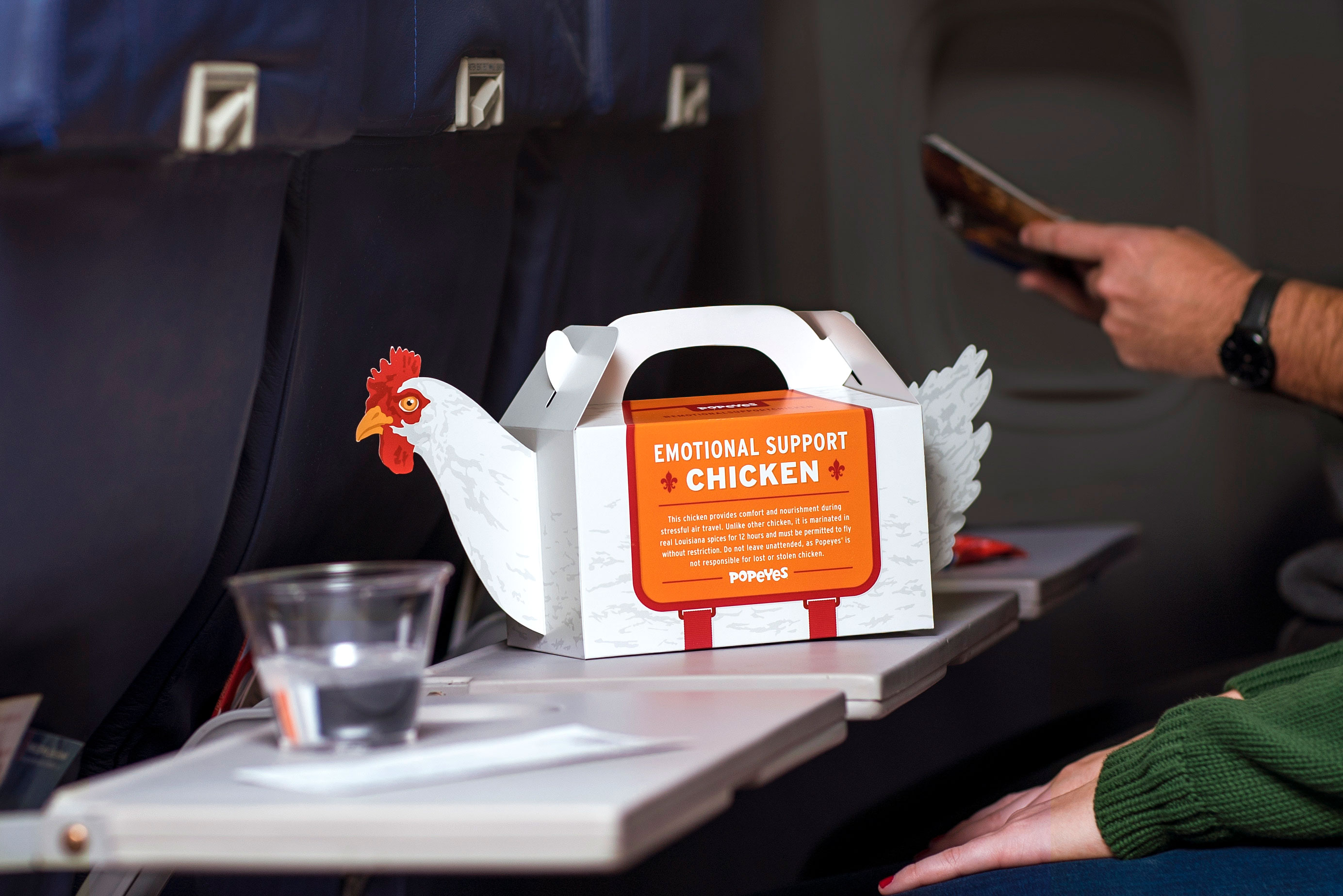Popeyes Launches 'Emotional Support Chicken' to Make Holiday Travel Less Stressful - Popeye's 'Emotional Support Chicken' box to-go.