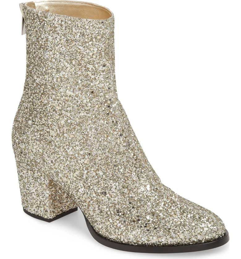 glitter jimmy choo block heel bootie