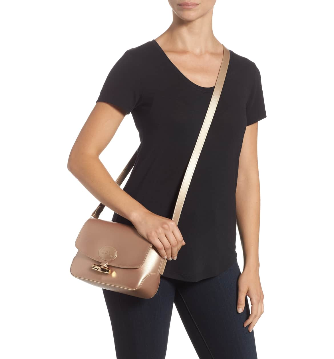 gold cross body bag long champ