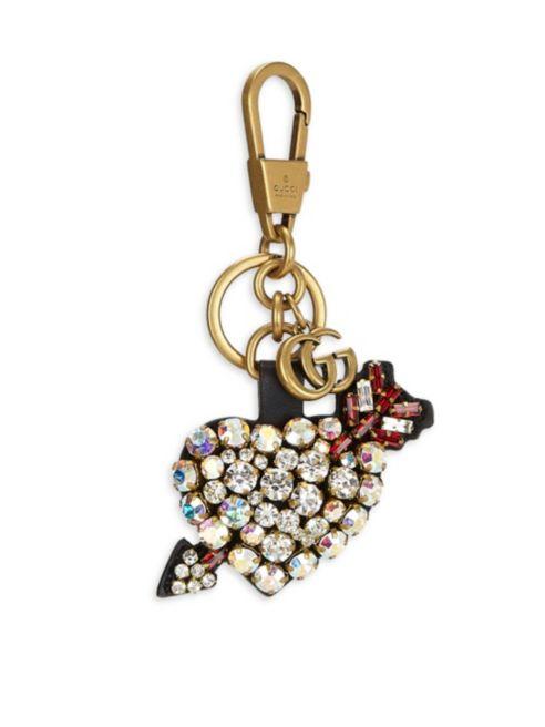 gucci pierced heart crystal keychain