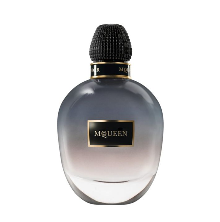 holiday gift guide fragrance- AlexanderMcQueen - The unexpected pairing of sunny flower petals and smokey lapsang souchong tea combine for a luxe yet earthen vibe. $245 for 2.5 oz, saks.com