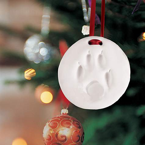 holiday ornament paw prints impression