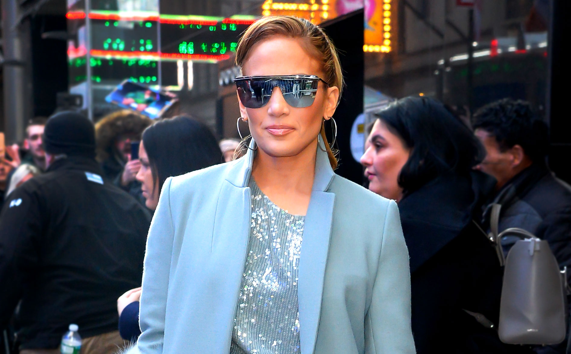 jennifer-lopez-Second-Act-press - NEW YORK, NY – DECEMBER 12: Singer Jennifer Lopez is seen outside Good Morning America on December 12, 2018 in New York City. (Photo by Raymond Hall/GC Images)