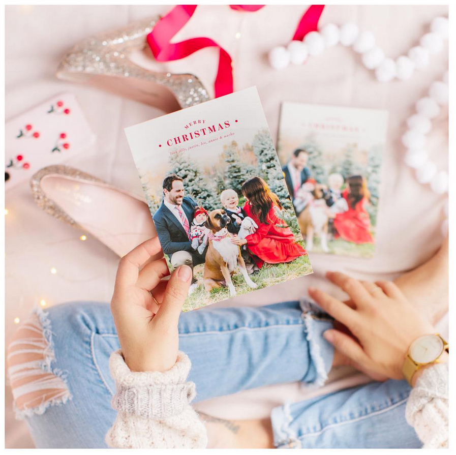 jillian-harris-holiday-card - The Bachelorette alum is ringing in the holiday season with fiancé Justin Pasutto and their 2-year-old son, Leo, and daughter Annie, 2 months.