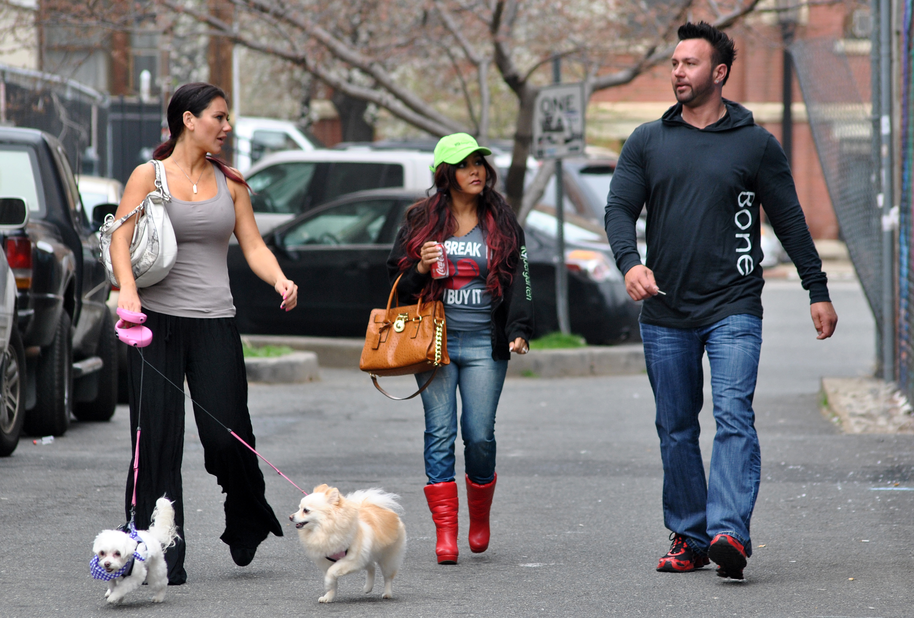 Roger Mathews Slams Snooki Amid Drama With Jen Farley - Jenni 'JWoww' Farley, Nicole 'Snooki' Polizzi and Roger Mathews on location for 'Snooki and JWoww vs. the World' on March 21, 2012 in Jersey City, New Jersey.
