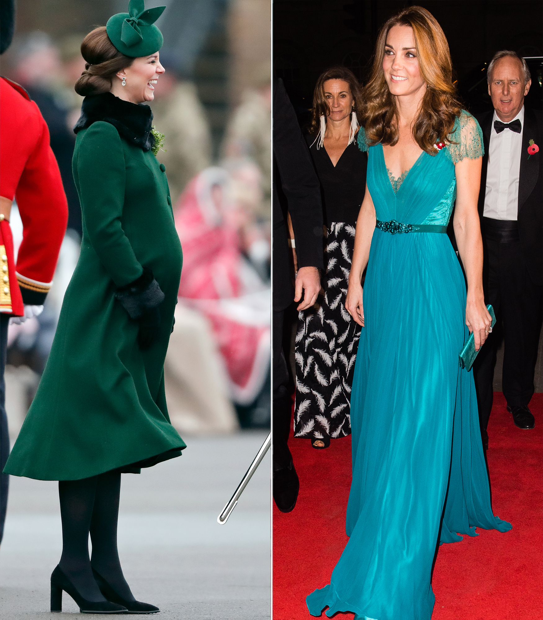 celebrity baby weight loss 2018 - She's royally fit — yet again! Less than three months after welcoming her third heir, Prince Louis, on April 23, a thin Duchess Kate stepped out in her teal Jenny Packham gown on July 10 (right).