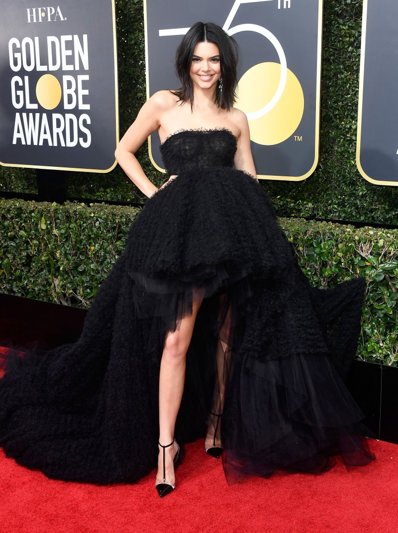 kendall-jenner-golden globes black gown - Wearing Giambattista Valli couture.