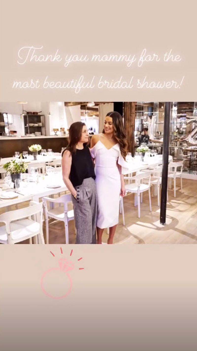 """Lea Michele and Fiance Zandy Reich - The Scream Queens actress looked at her mom adoringly in a photo captioned, """"Thank you mommy for the most beautiful bridal shower!"""""""