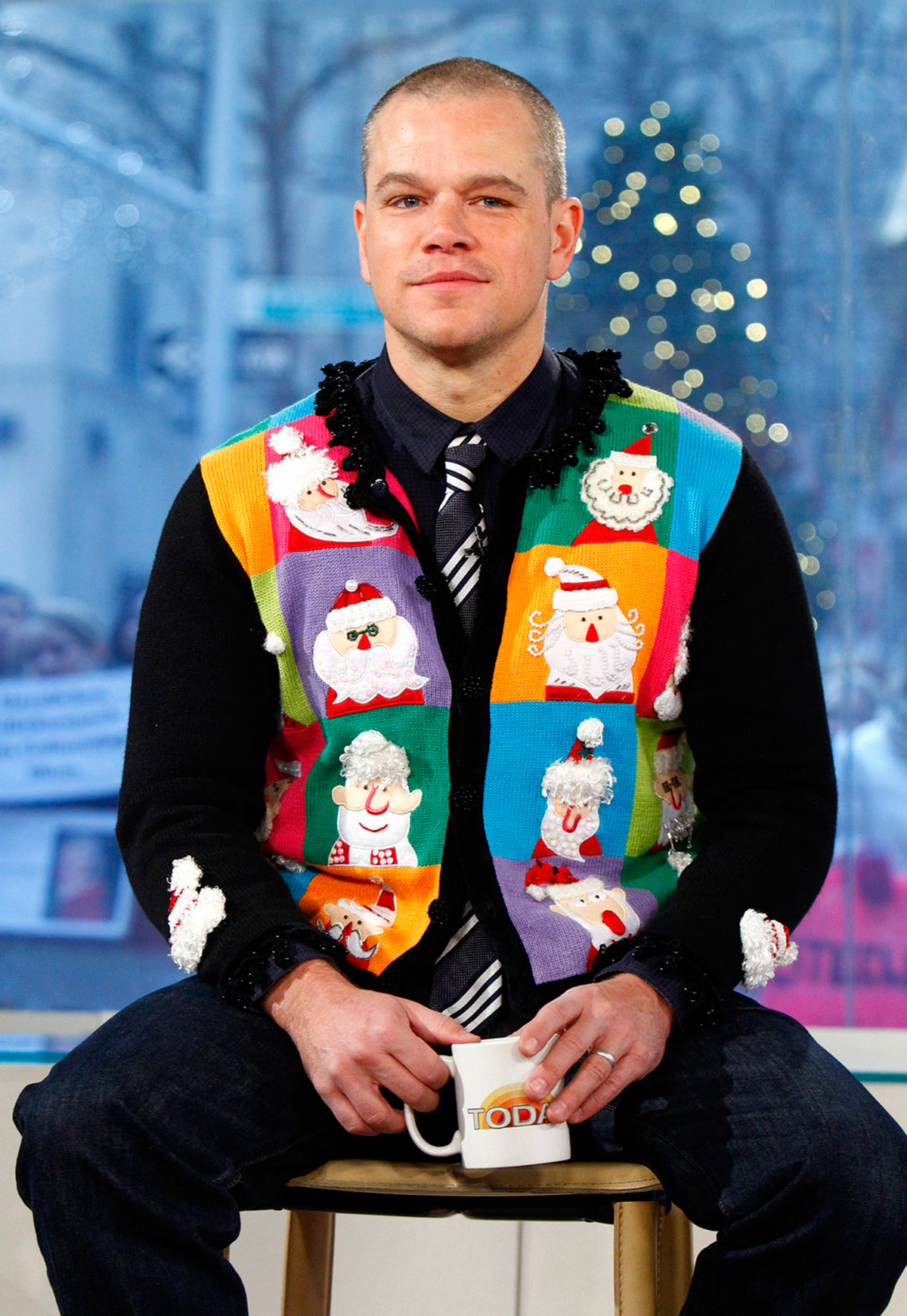 """celebrity ugly christmas sweater - 96 Normal 0 false false false EN-US X-NONE X-NONE /* Style Definitions */ table. MsoNormalTable {mso-style-name:""""Table Normal""""; mso-tstyle-rowband-size:0; mso-tstyle-colband-size:0; mso-style-noshow:yes; mso-style-priority:99; mso-style-parent:""""""""; mso-padding-alt:0in 5.4pt 0in 5.4pt; mso-para-margin:0in; mso-para-margin-bottom:.0001pt; mso-pagination:widow-orphan; font-size:12.0pt; font-family:""""Calibri"""",sans-serif; mso-ascii-font-family:Calibri; mso-ascii-theme-font:minor-latin; mso-hansi-font-family:Calibri; mso-hansi-theme-font:minor-latin;} The Oscar winner stayed warm in an ugly Santa sweater vest during a 2011 Today show interview."""