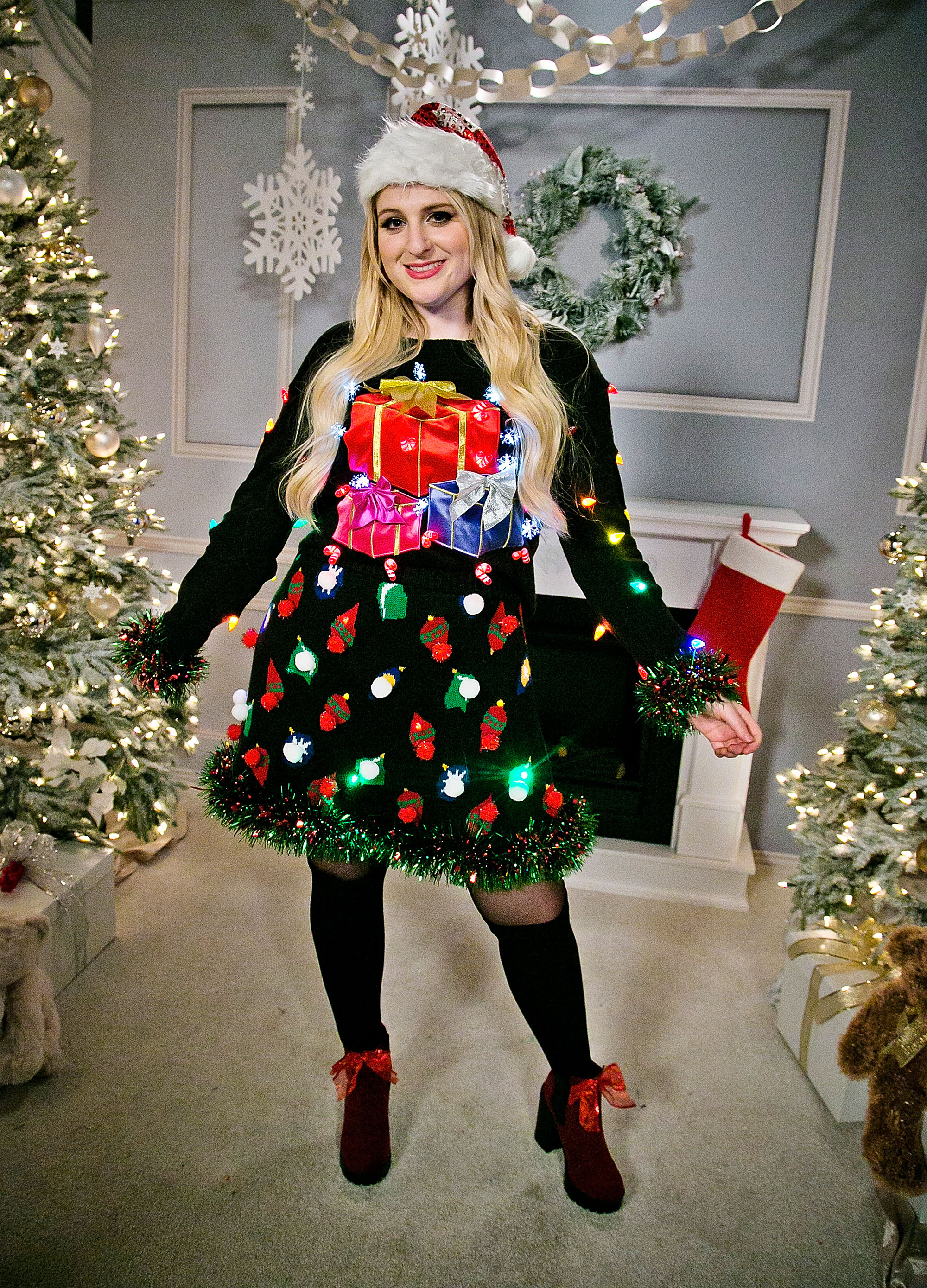 celebrity ugly christmas sweater - LOS ANGELES, CA – DECEMBER 04: Meghan Trainor attends 102.7 KIIS FM's Jingle Ball at Staples Center on December 4, 2015 in Los Angeles, California. (Photo by Gabriel Olsen/Getty Images)
