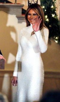 melania-trump high neck white dress