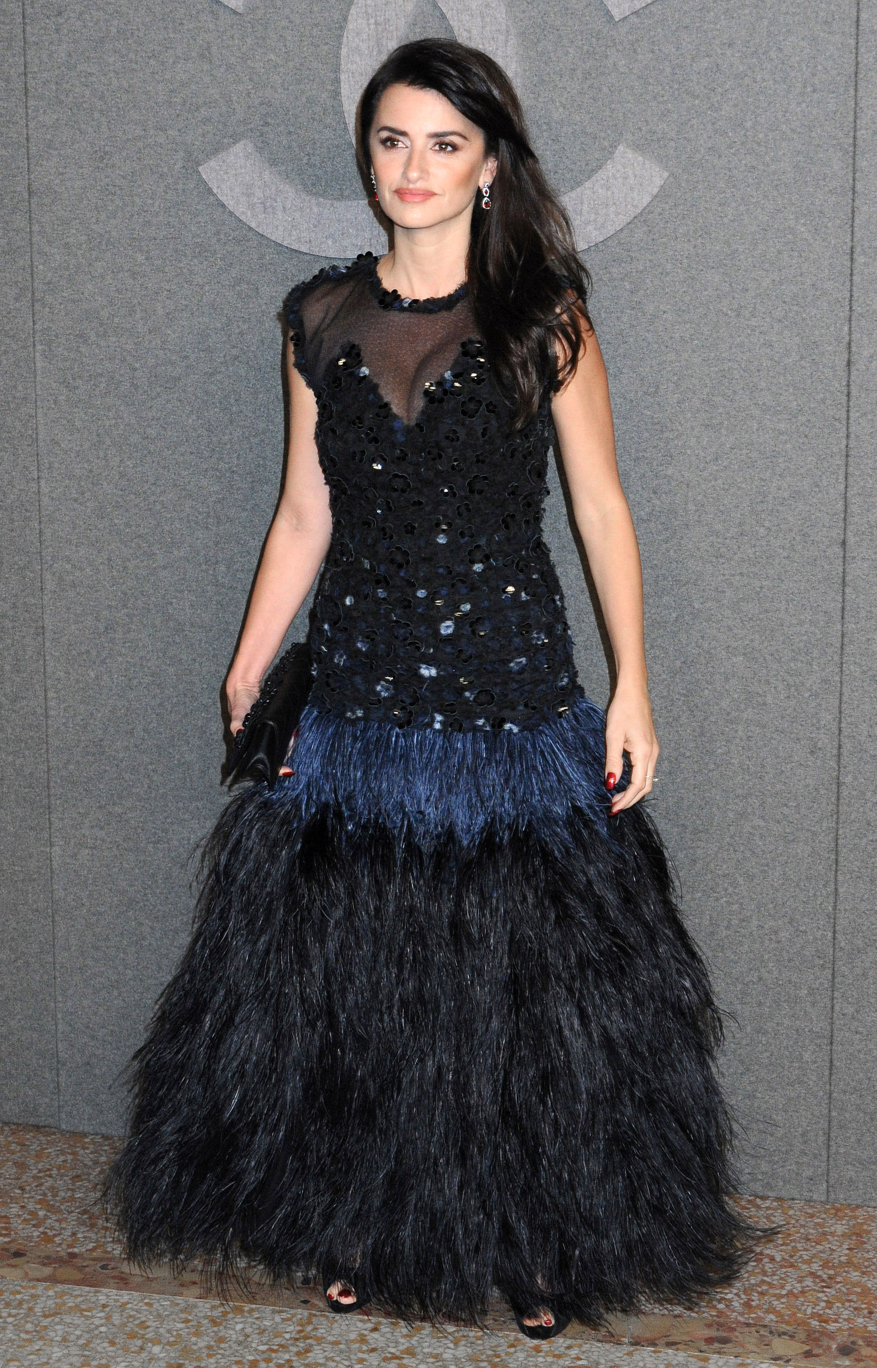 penelope-cruz - The Everybody Knows actress was the belle of the ball in a midnight blue feathered gown.
