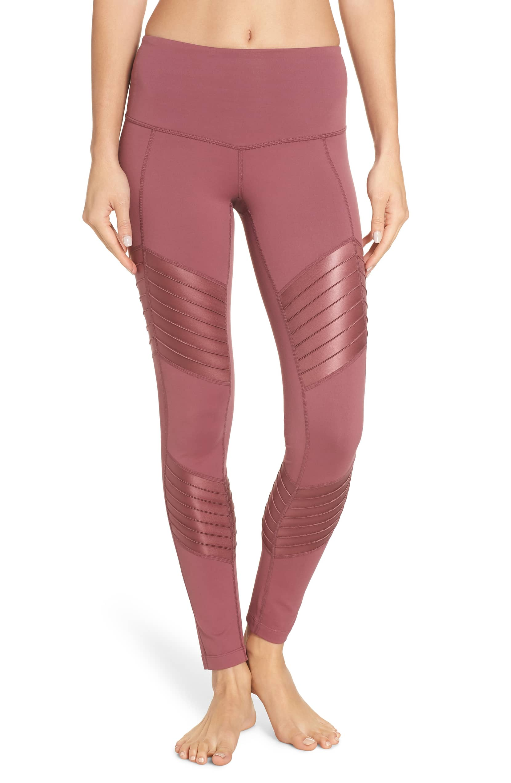 pink moto style leggings from the Zella brand at Nordstrom