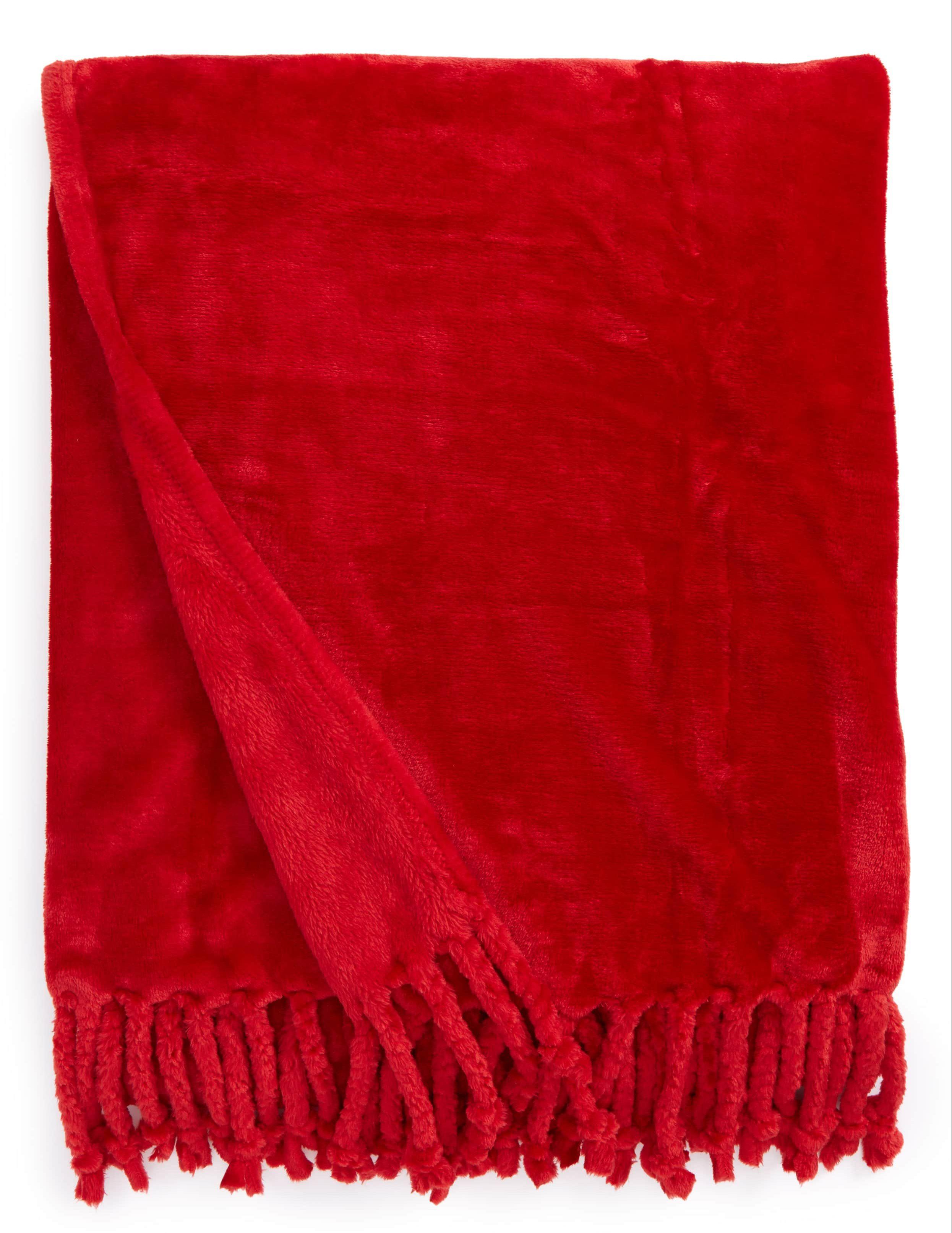 red fringe plush blanket