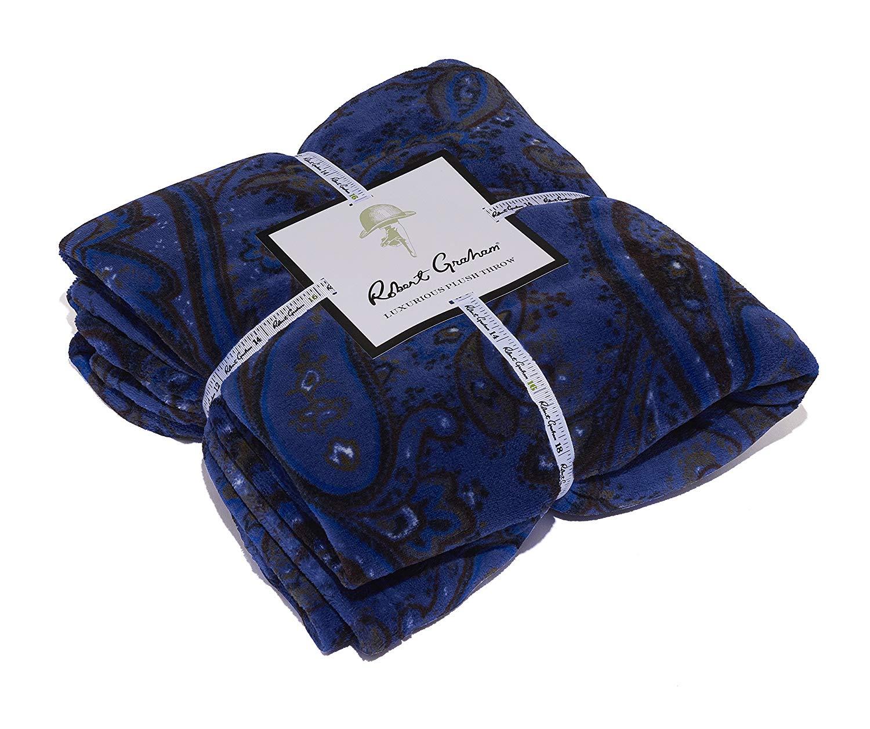 robert graham plush paisley print throw blanket
