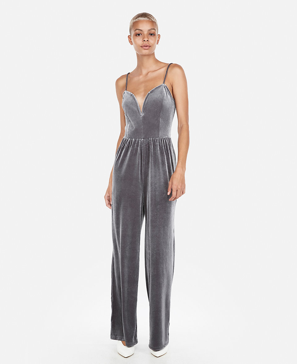 silver velvet jumpsuit with the sweetheart top