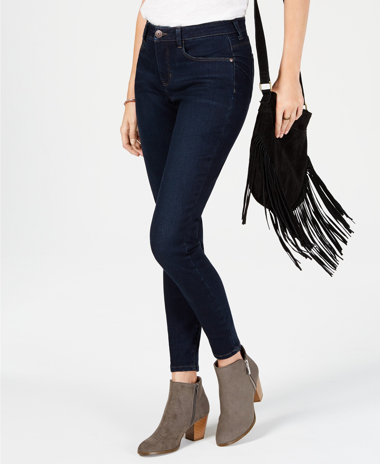 style and co power sculpt curvy-fit skinny jeans in deep dark blue denim