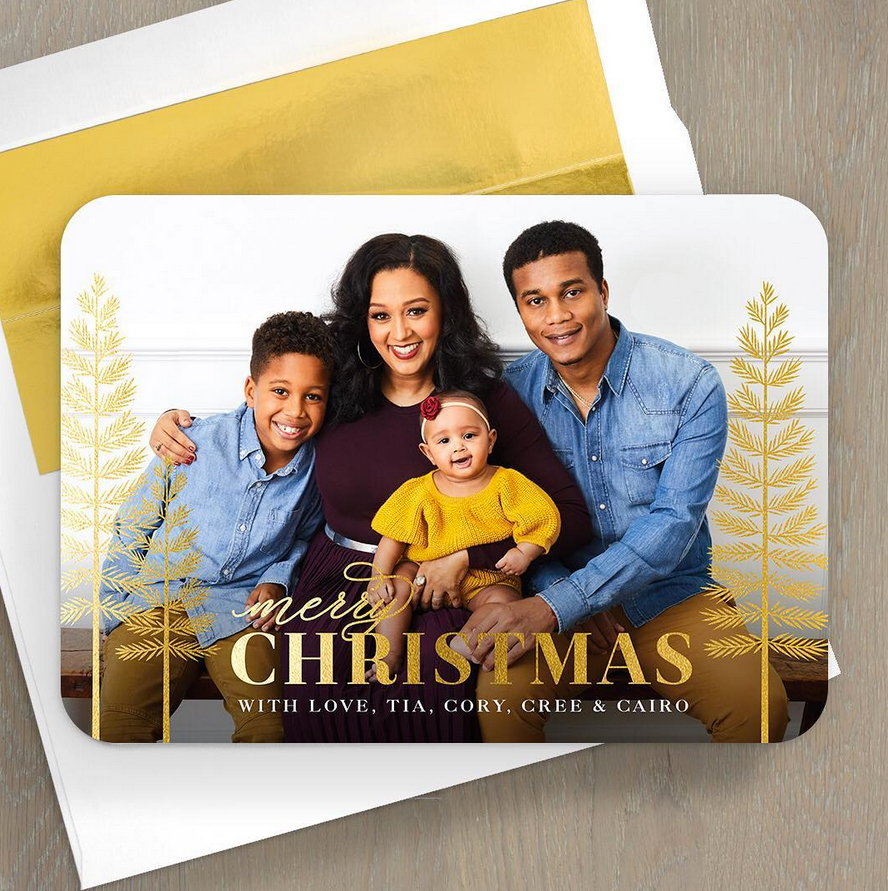 tia-mowry-holiday-card - 'Tis the season! Mowry is spreading holiday cheer with husband Cory Hardrict and their children, son Cree, 7, and daughter Cairo, 6 months.