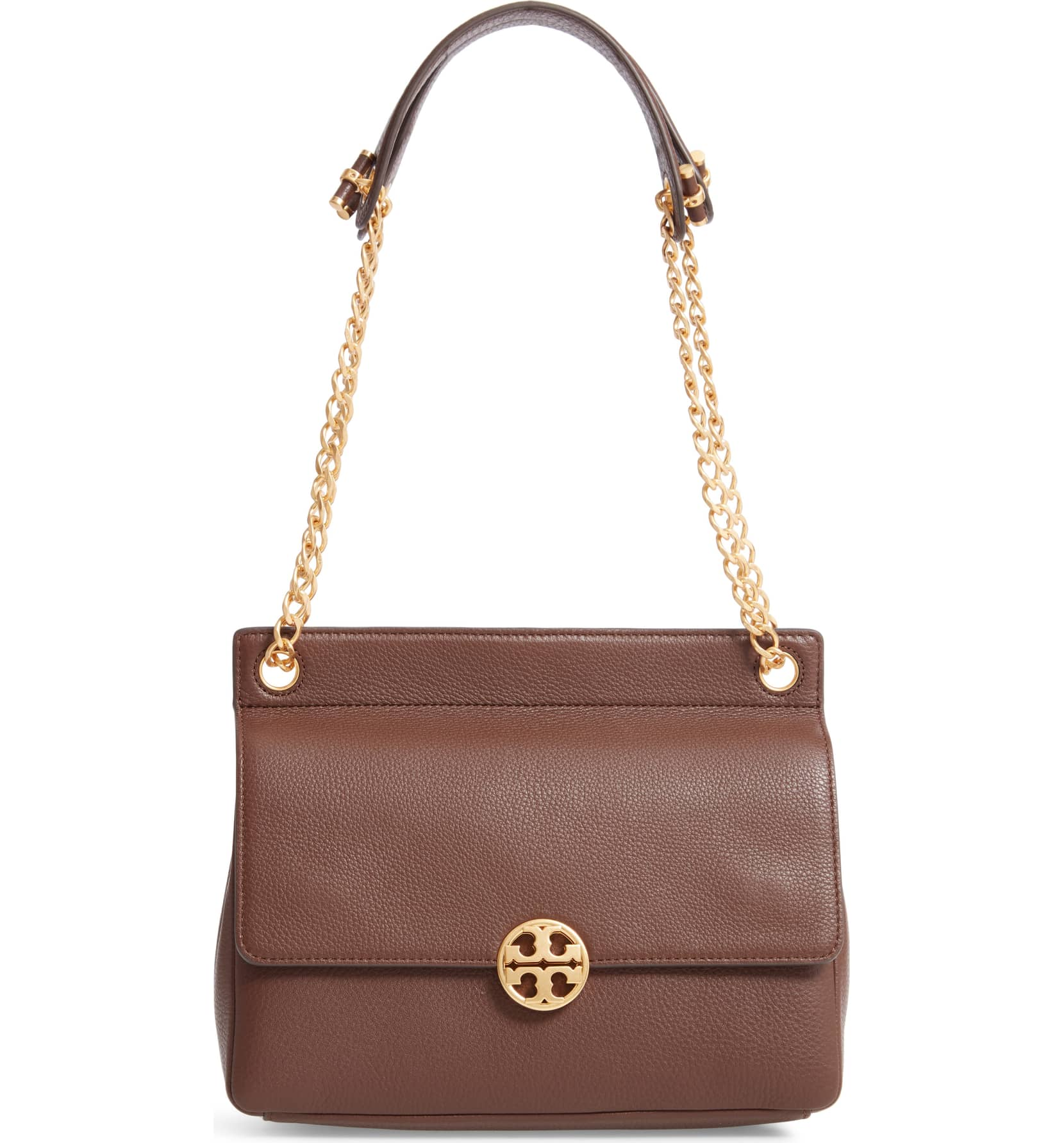 tory burch chelsea flap leather shoulder bag in a brown color with gold hardware