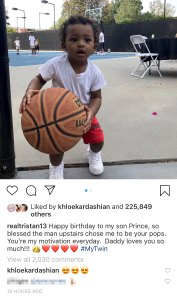 Khloe Kardashian Leaves Loving Comment on Tristan Thompson's Birthday Tribute to His Son Prince