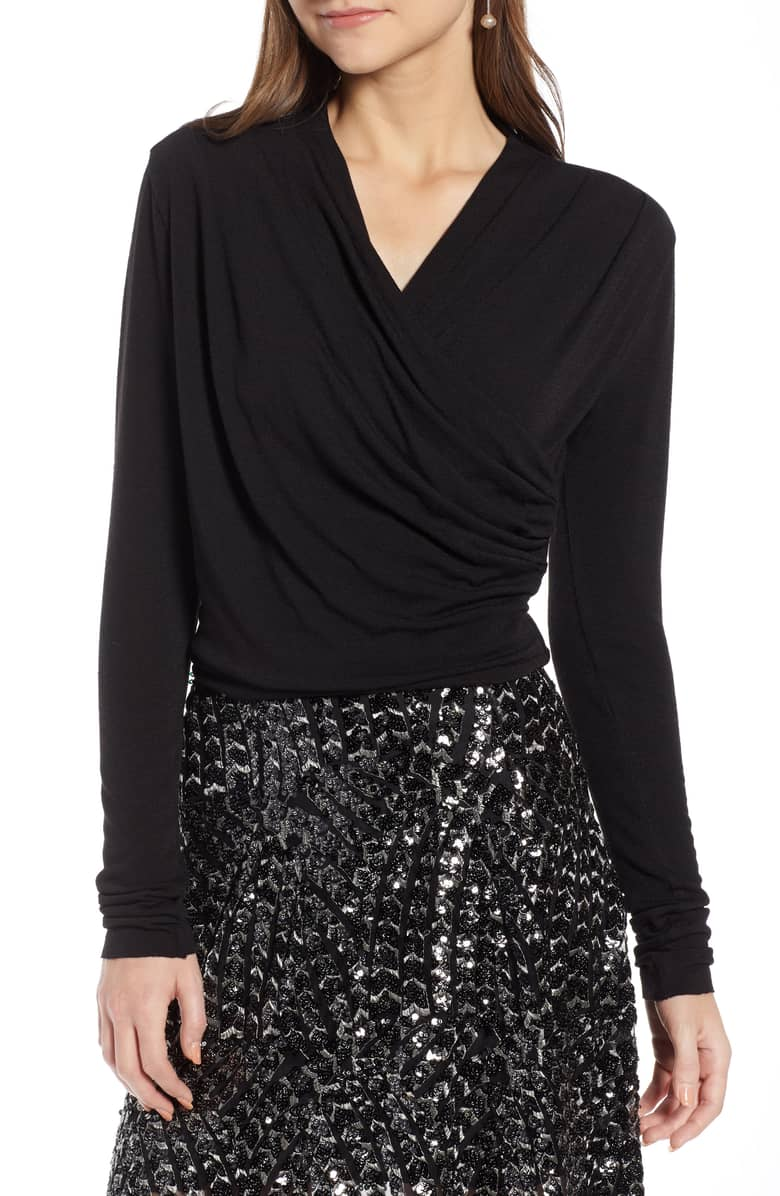 wrap front top in black