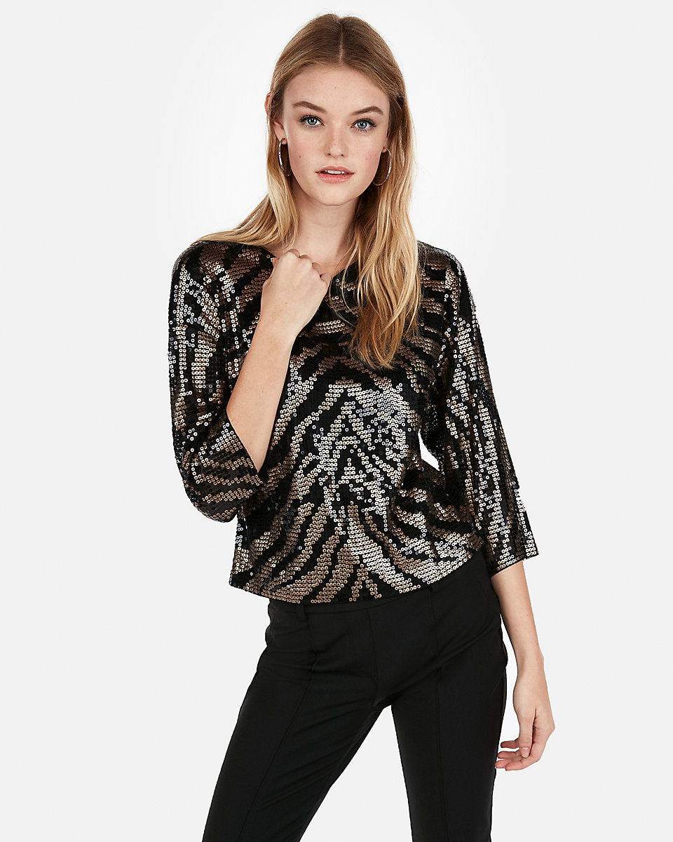 zebra print sequin top express sale