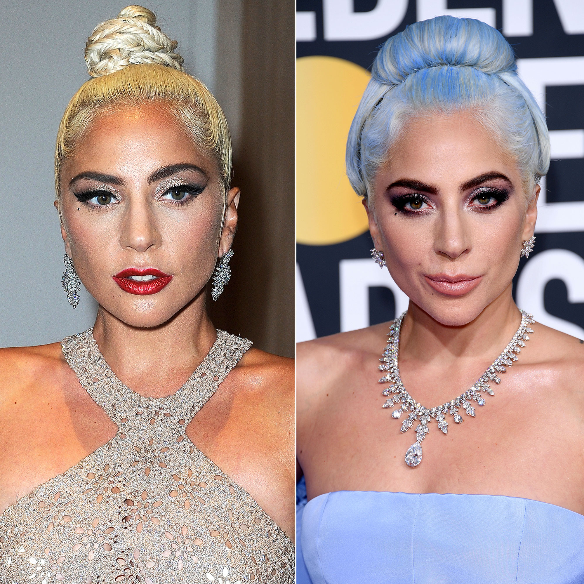 Celebrity Hair Transformations of 2019 - The Golden Globes winner arrived at the awards show on Sunday, January 6, with blue hair to match her periwinkle Maison Valentino gown, and Us exclusively learned that the A Star Is Born actress' mane man Frederic Aspiras used Joico's Color Intensity to dye her platinum strands.