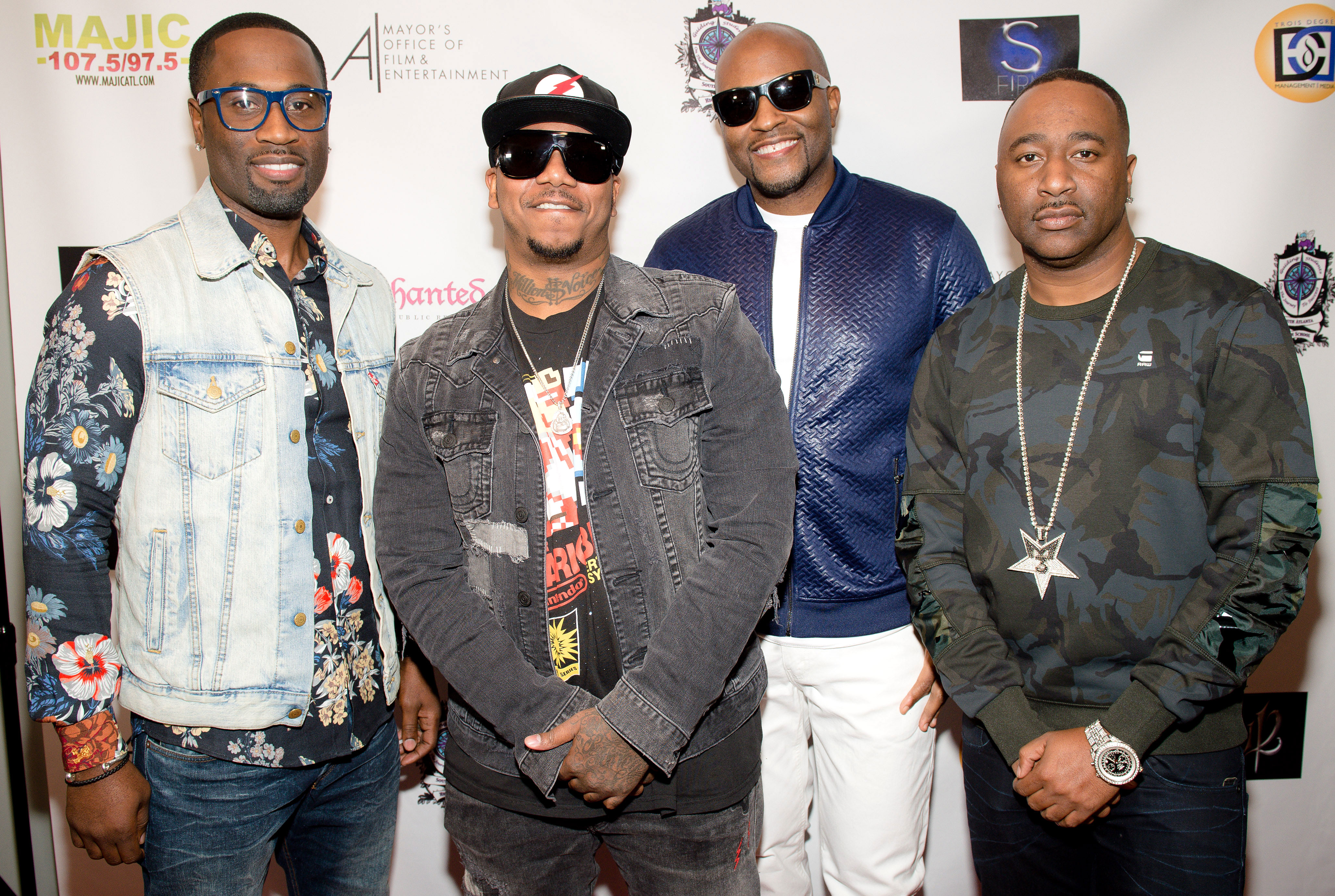 """Kanye Surprises Kim With 112 Serenade - Michael Keith, Quinnes """"Q"""" Parker, Daron Jones, and Marvin """"Slim"""" Scandrick of 112 attend their private listening party at Crossover Entertainment Group on October 24, 2017 in Atlanta, Georgia."""