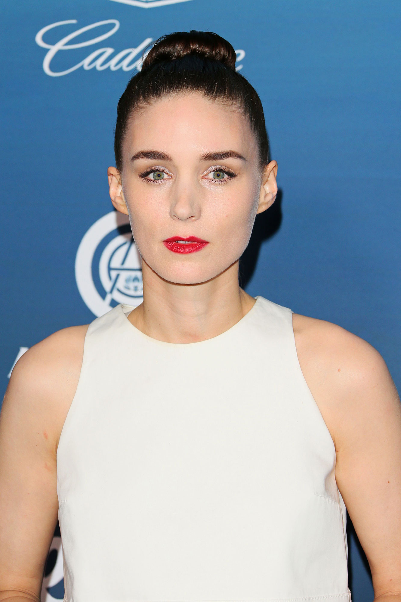 Rooney Mara - The Carol star appeared at the Art of Elysium Gala on January 5 in a crimson red lip that added the perfect pop of color against her otherwise sleek and clean look.