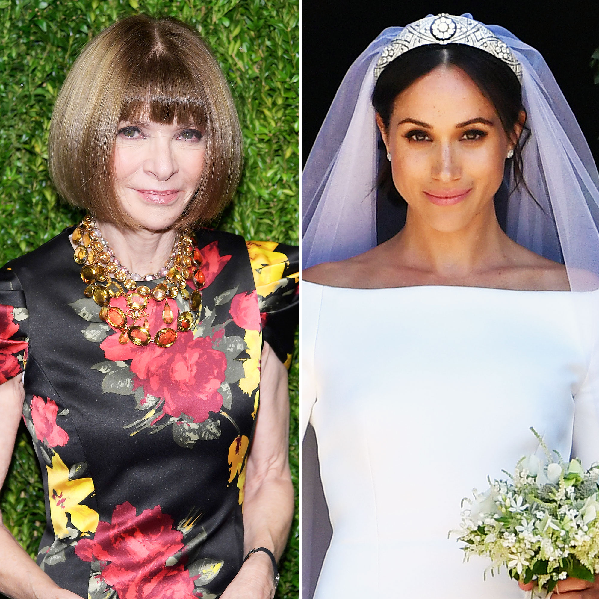 Anna Wintour Thoughts Duchess Meghan Wedding Dress - Anna Wintour and Duchess Meghan on her wedding day.