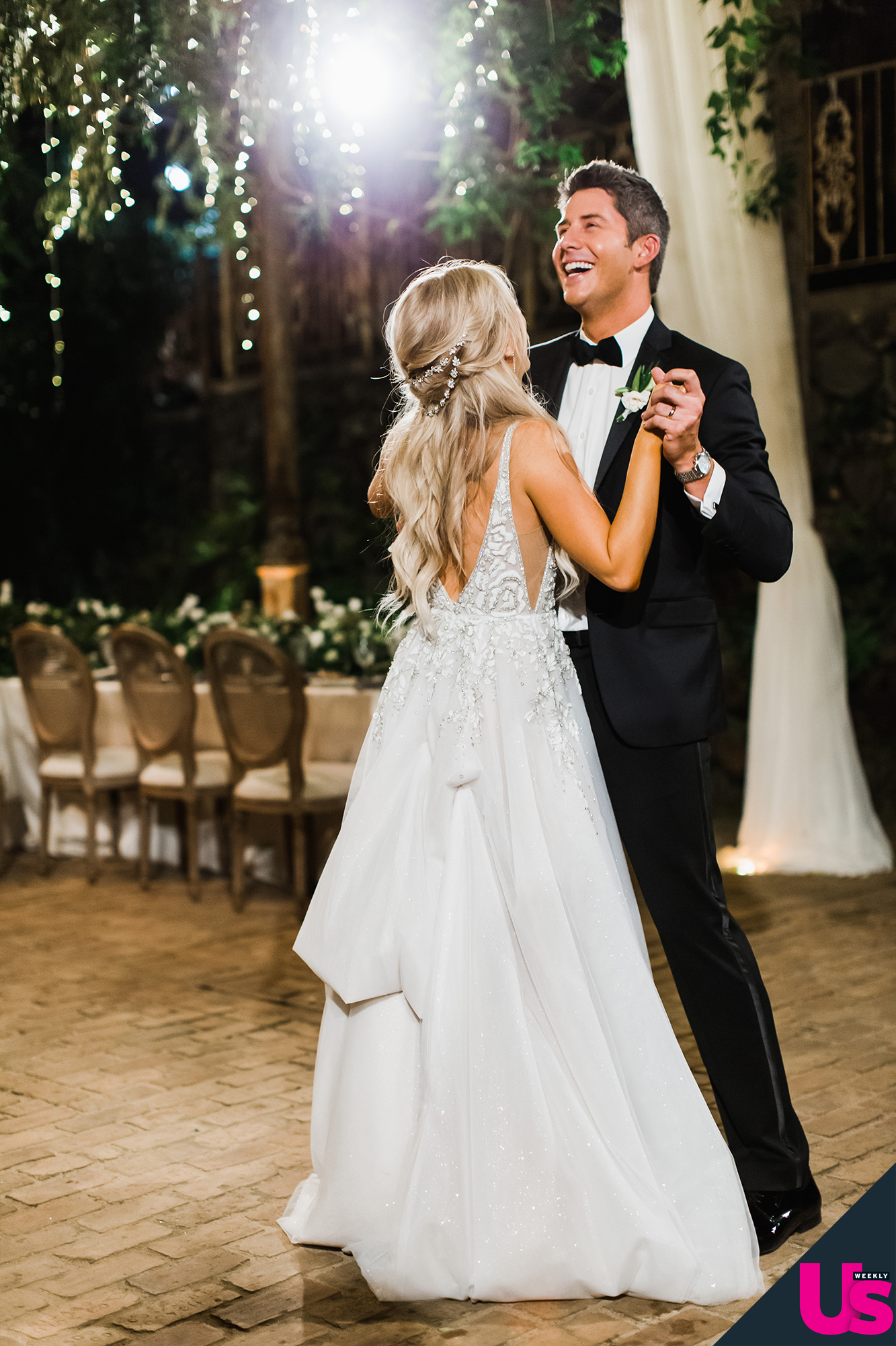 Arie-Luyendyk-Jr. -and-Lauren-Burnham-Wedding - After multiple speeches and a large dinner – the guests chose between Hawaiian rancher's strip sirloin or Hawaiian catch – it was time to dance!