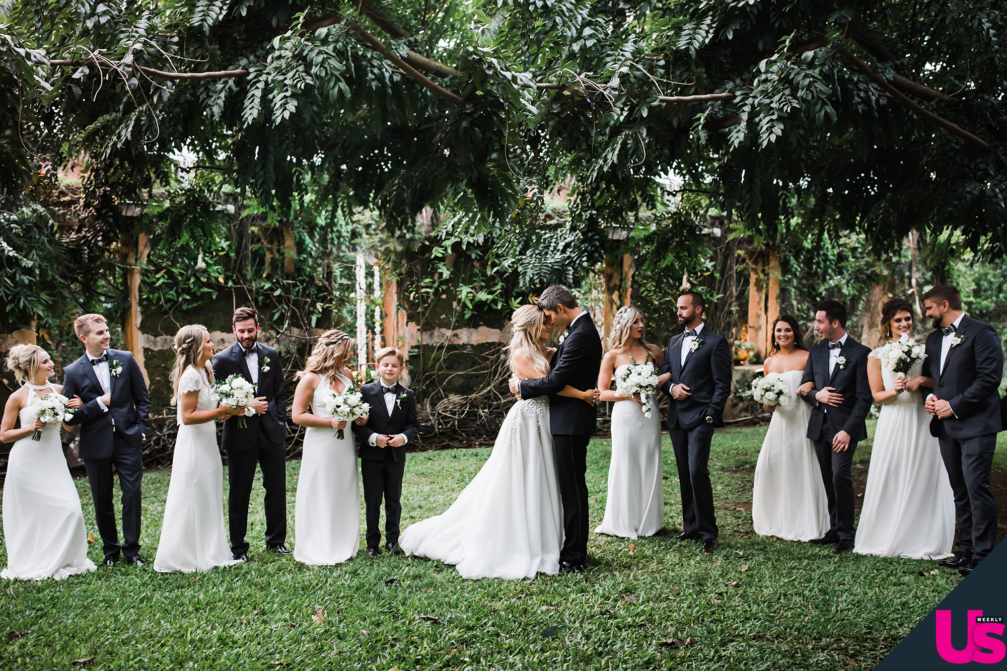 Arie-Luyendyk-Jr. -and-Lauren-Burnham-Wedding - Luyendyk Jr. went with head-to-toe Kenneth Cole , wearing a black three-piece tuxedo, patent black shoes and a white tuxedo shirt.