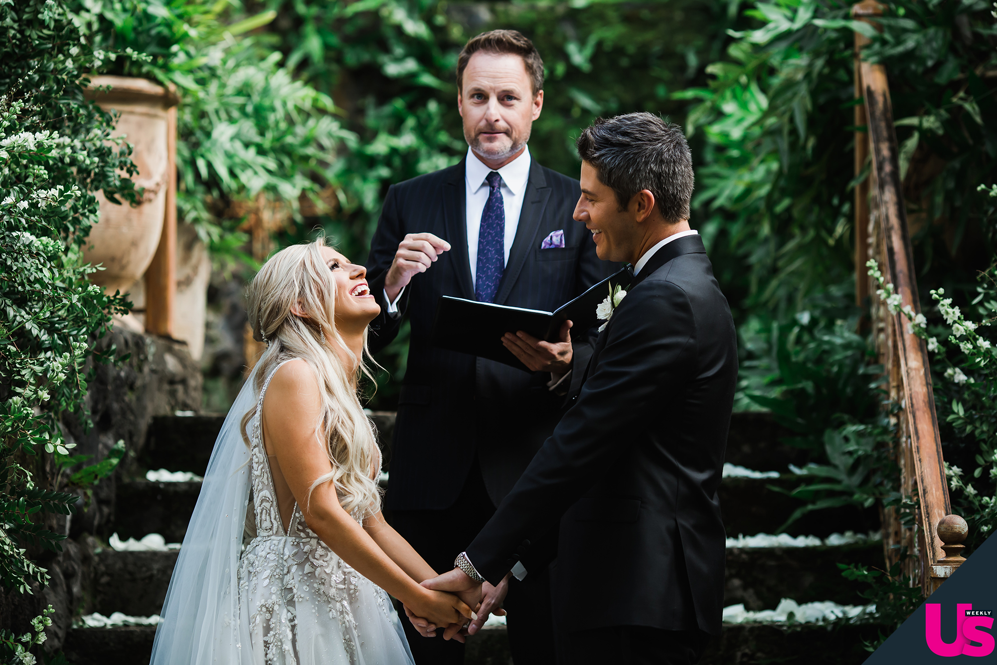 """Arie-Luyendyk-Jr. -and-Lauren-Burnham-Wedding - The couple had some similarities in their vows – """"we've always been on the same page about everything,"""" she said – which were all about growing old together."""