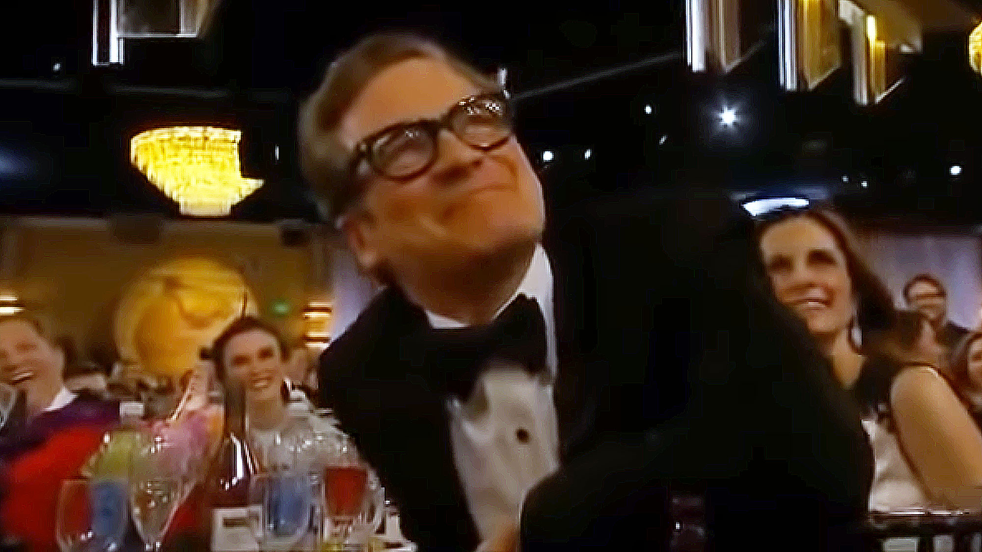 """Awards Shows Audience Reactions Colin Firth Golden Globes 2015 - The actor couldn't help but smile after Fey told Poehler that she would choose him over Colin Farrell during a game of """"Who'd You Rather"""" at the 2015 Golden Globes."""