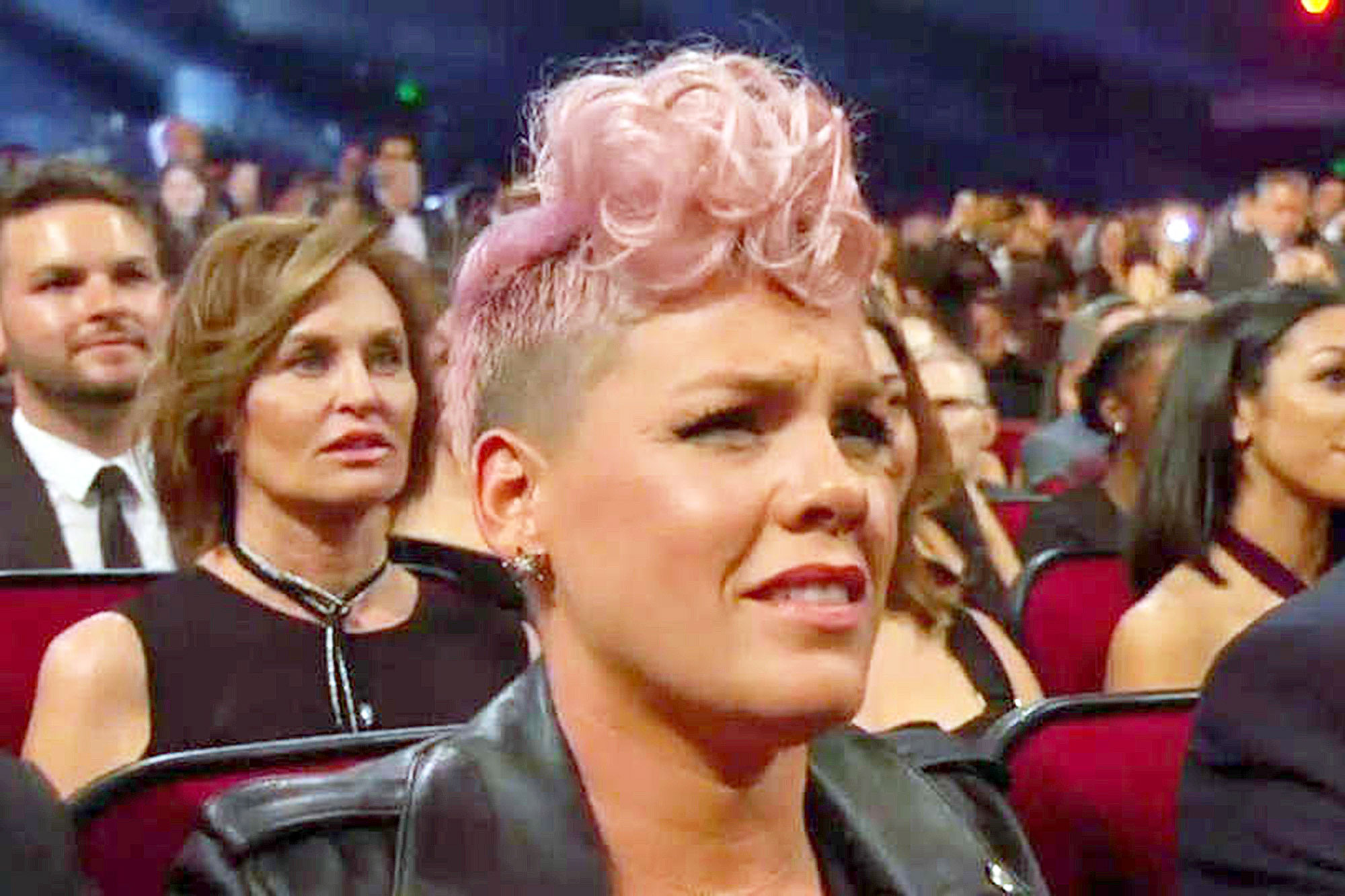 """Awards Shows Audience Reactions Pink AMAs 2017 - While the """"So What"""" singer looked like she was in pain during Christina Aguilera's Whitney Houston tribute at the 2017 AMAs, she denied not enjoying the performance on Twitter after the show. """"Christina f—king killed it tonight for one of our favorite singers ever,"""" Pink tweeted."""