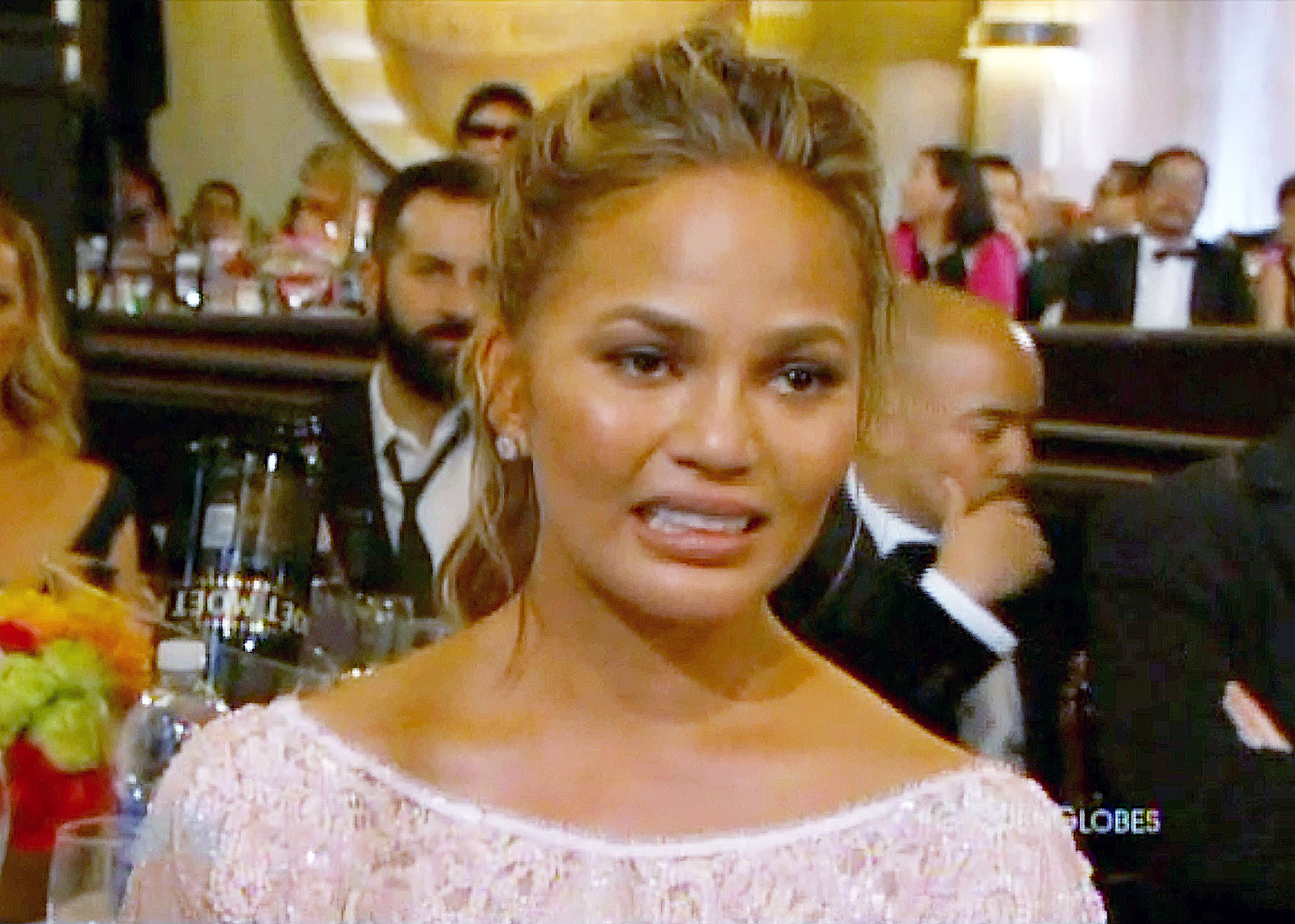 """Awards Shows Audience Reactions Chrissy Teigen Golden Globes 2015 - The Cravings cookbook author went viral for her grimacing crying face after her husband won the Golden Globe for Best Original Song in 2015. """"Sorry I don't practice my cry face okay,"""" she tweeted at the time."""
