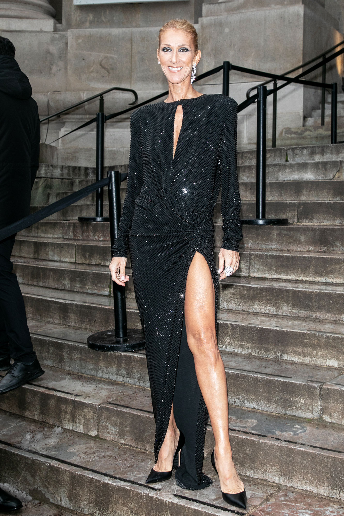 Celine Dion - Offering her own take on Angelina Jolie's epic gam-baring moment at the 2012 Oscars, the music icon sparkled in a black gown at Alexandre Vauthier on Tuesday, January 22.
